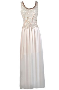 #Lily Boutique - #Lily Boutique Flutter Of Blossoms Embellished Neckline Maxi Dress in Cream - AdoreWe.com