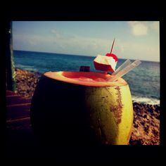 Coco loco- drank one of the on the Tulum, Mexico