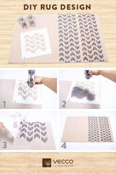 Surprise dad with a DIY gift that will get his heart racing! 1. Grab our Zig Zag Zig Carpet Stencil, 1 can of Flint Stone + 1 can of Yea Grey! Carpet Colorants, and 2 cans of Colorant Lock. 2. Place down the Carpet Stencil in the upper corner of your rug and spray a vertical row of chevrons end to end. 3. Repeat next to it with the other Carpet Colorant. 4. Wait until it appears dry, and then seal it with 2 coats of Colorant Lock.