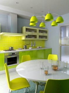 home decor interior design decoration image picture photo kitchen www. black and white Scandinavian Home Design in Santa Mon. Lime Green Kitchen, Green Kitchen Designs, Kitchen Color Trends, Green Kitchen Cabinets, Best Kitchen Designs, Kitchen Colors, Kitchen Walls, Oak Cabinets, Kitchen Shades
