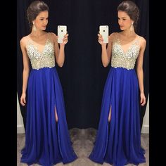 Charming Prom Dress,A-Line Prom Dress,Chiffon Prom Dress,V-Neck Prom Dress,Beading Evening Dress on Luulla