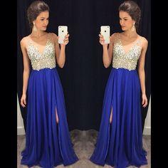 Royal Blue V Neck Long Prom Dresses Off the Shoulder Front Split Beaded Prom Dress Evening Party Dress