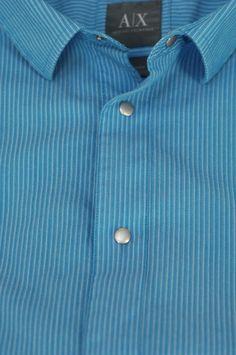 Giorgio Armani $195 French Blue Stripe Weave Cotton Casual Shirt XL XLarge #GiorgioArmani #ButtonFront