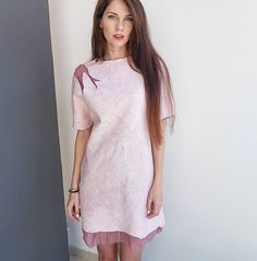 felted merino dress pink silk
