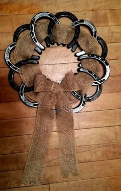 Horseshoe Burlap Wreath by LuckyIronWorks on Etsy #Horseshoecrafts