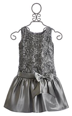 Isobella and Chloe Girls Drop Waist Dress in Silver $48.00
