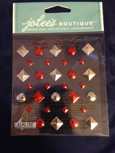Jolee's Boutique  Red And Silver Studs  32 by CynthiasCraftingNook, $3.50