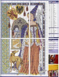 0 point de croix femme medievale - cross stitch medieval middle ages lady part 2