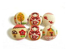 6 Medium Fabric Buttons Set - Pink Babushka $5