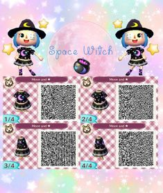 Space Witch dress - moon, halloween - New Ideas Animal Crossing Qr Codes Clothes, Animal Crossing Game, Motif Acnl, Code Wallpaper, Halloween News, Halloween Moon, Ac New Leaf, Witchy Outfit, Witch Dress