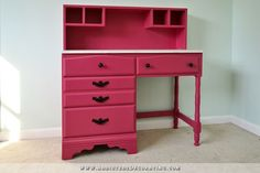 Vintage Desk Makeover With Tutorial for An Added Hutch - Behr glamorous desk paint color