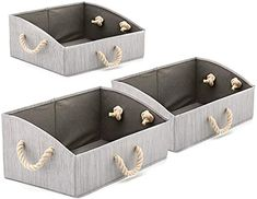 New Set of 3 Large Storage Bins EZOWare Foldable Fabric Trapezoid Organizer Boxes with Cotton Rope Handle, Collapsible Basket for Shelves, Closet, Baby Toys, Diaper (Bamboo Gray) Home Kitchen. [$29.99] findamazingstar offers on top store Large Storage Bins, Milk Storage Bags, Diaper Storage, Fabric Storage Baskets, Towel Storage, Cube Storage, Storage Boxes, Baskets For Shelves, Cubby Shelves