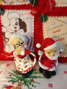 Santa and Mrs. Claus with hula hoops! LOL!  Although the Hula Hoop's exact origins are unknown, a plastic version was first successfully marketed in 1957 by California's Wham-O toy company. During the following threee years over 100 million hoops were sold worldwide.
