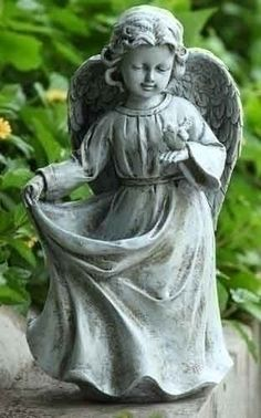 """14""""Angel Holding Dress Birdfeeder Garden Statue by Romans. $45.60. This item may NOT arrive by Christmas if purchased after 12/19 regardless of shipping method chosen. Items not shipped in time for Christmas will not ship until Wednesday, January 2.. Resin/Stone Mix. 14.5""""H x 6.75""""W x 8""""L. Contact us if you need assistance. 14""""Angel Holding Dress Birdfdr"""