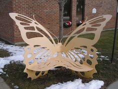 Butterfly Bench - Fraser Public Library - Fraser, MI. - Insect Sculptures on Waymarking.com