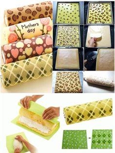 swiss roll mat ideas from baking frenzy cooking supplies, mat is in Cake Roll Recipes, Dessert Recipes, Cookies Et Biscuits, Cake Cookies, Tortas Deli, Food Cakes, Cupcake Cakes, Swiss Roll Cakes, Patterned Cake