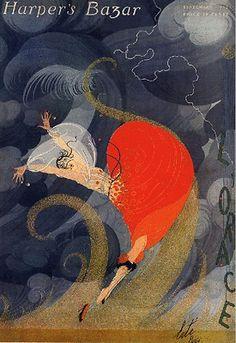 Harper's Bazaar ~ Erte Wind Swept Fashion Magazine Cover Art Poster Print ~Via Carolyn Avellone Art Deco Posters, Vintage Posters, Poster Prints, Vintage Drawing, Vintage Art, Vintage Vogue, Vintage Fashion, Fashion Illustration Vintage, Illustration Art
