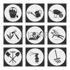 icone jardinage: Jardinage. Icônes sur le thème de l'agriculture biologique. Symboles étapes de la culture des plantes. Ameublir le sol, la fertilisation, plantation de semis, arrosage, pulvérisation et le traitement des parasites, désherbage, l'élagage, la récolte, enlèvement des feuilles mortes.