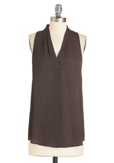 Distinctly Decadent Top - Long, Chiffon, Brown, Solid, Work, Casual, Sleeveless, V Neck, Brown, Sleeveless