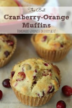 The Best Cranberry Orange Muffins -substituted brown sugar with reg. sugar & changed oil to a 1/2 oil/ 1/2 applesauce mixture