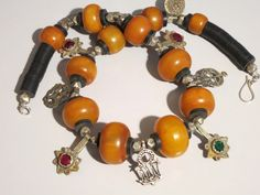 Vintage amber and silver pendant Moroccan necklace
