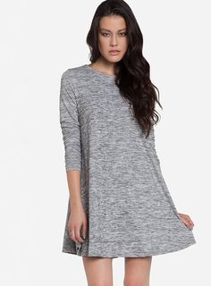 Grey Long Sleeve Casual Dress - Sheinside.com