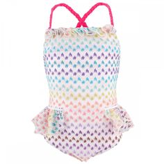 Missoni rainbow one-piece swimsuit for little girls.  Would never pay this much for a kid's swimsuit, but it sure is adorable!
