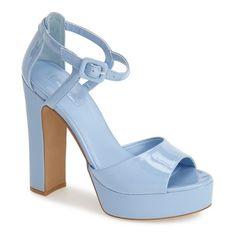 """Topshop 'Lena' Ankle Strap Platform Sandal, 5"""" heel ($55) ❤ liked on Polyvore featuring shoes, sandals, heels, blue, high heels, ankle strap high heel sandals, high heeled footwear, high heel platform sandals, ankle strap sandals and high heels sandals"""