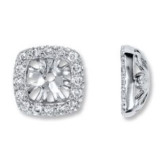 Diamond Earring Jackets 1 4 Ct Tw Round Cut 14k White Gold