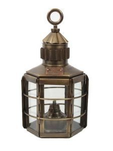"""Antique Brass Clipper Ships Oil Lantern 13"""" from Handcrafted Nautical Decor - In stock and ready to ship"""