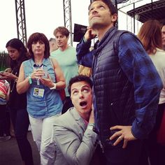 """John Barrowman and Misha Collins >>> I love how the two people in the background are like, """"what the...?"""""""