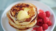 Ricotta Pancakes with Melted Raspberries and Sweet Lemon Butter