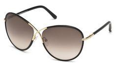 Tom Ford for woman ft0344 - 01B (nero lucido\/fumo grad), Designer Sunglasses Caliber 62