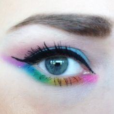Rainbow Eyeshadow look. Rainbows are beautiful and they look so fun on the eyes.