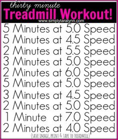 thirty minute Treadmill Workout