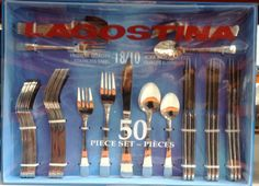 Lagostina Marina cutlery set from Costco. It's cheap, it's simple and it lasts forever (from what I know).