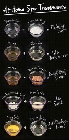 Natural at home spa like treatments!  We could all use a little pampering.  Although I want someone else to do the work.
