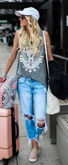 #summer #outfits White Cap + Grey Printed Tank + Destroyed Jeans