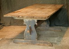 Early 19th Century farm house trestle table in pine, Sweden