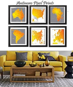 Map of the World Digital Illustration World Map Art Prints Collection -Set of (6) - 8x10 Prints -  (UNFRAMED) (Decorative Use Only)