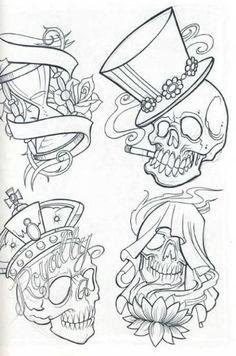 Free printable tattoo flash art kitchen and living space interior o free printable tattoo flash art Skull Tattoo Design, Tattoo Design Drawings, Skull Tattoos, Tattoo Sketches, Tattoo Designs, Tattoo Motive, Tattoo Outline, Wrist Tattoo, Dessin Old School