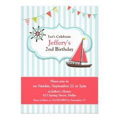 If you are looking for invitation cards for your kid's birthday, then this cute Sailing Boat Birthday Invitation Card is perfect for you, and it's totally customizable!