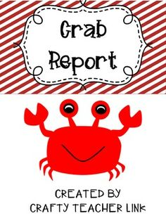 OCEAN CRAB -Make a Crab Report book! (SAMPLE INCLUDED IN PACKET)Included in this packet are ocean crab report printables.Page 1: Cover pagePage 2: Color the CrabPage 3: Label the CrabPage 4: Research the CrabPage 5: Crab FactsPage 6: Informative writing/Draw picturePage 7: Informative writing continuedCreated by Crafty Teacher Link
