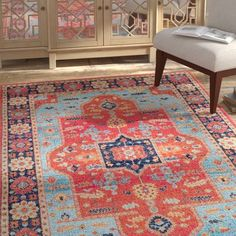 Bungalow Rose Caufield Blue/Pink Area Rug Rug Size: Rectangle x Blue Area, White Area Rug, Beige Area Rugs, Blue Ivory, Pink Blue, Persian Rug, Primary Colors, Rug Size, Oriental