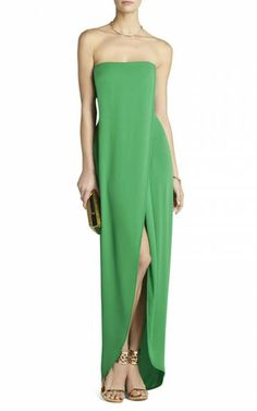 Green Bcbg Jesse Draped Strapless Gown