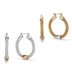 A classic, elegant verison of simples hoops! Mesh hooped earrings with bead at center of earrings. Truly impress with this on trend jewelry.