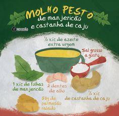 Receita ilustrada de Molho Pesto de Manjericão e castanha de caju. Muito rápido e fácil de preparar. Ingredientes: manjericão, azeite extra virgem, castanha de caju, alho, queijo parmesão e sal grosso