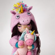 Made by Mint Bunny Crochet Toys Patterns, Stuffed Toys Patterns, Doll Patterns, Crochet Case, Love Crochet, Knitted Dolls, Crochet Dolls, Crochet Unicorn, Homemade Toys