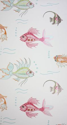 Aquarium Wallpaper Black von Osborne & Little von Nina Campbell Perroquet Powder Room Wallpaper, Nursery Wallpaper, Bathroom Wallpaper, Home Wallpaper, Fabric Wallpaper, Funky Wallpaper, Accent Wallpaper, Luxury Wallpaper, Colors