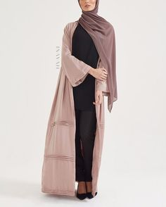 INAYAH | A subtle statement in muted hues.  Pink Pleat Detail Kimono Black High Neck Midi with Slits Black Straight Leg Trousers Ash Soft Crepe Hijab Large Black Velvet Scrunchy Light Grey Jersey Drawstring Hijab www.inayah.co